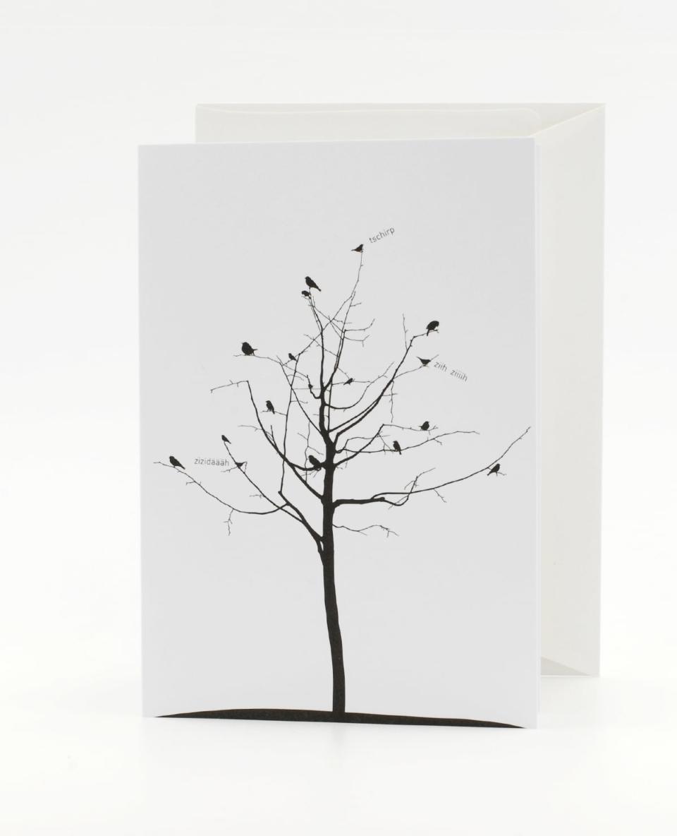 Vogelgezwitscher Klappkarte - Gossip oder Hitchcock