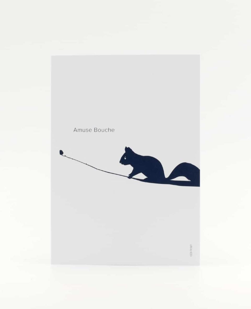 Amuse Bouche Postkarte, kleiner Teaser für grosse Ankündigungen