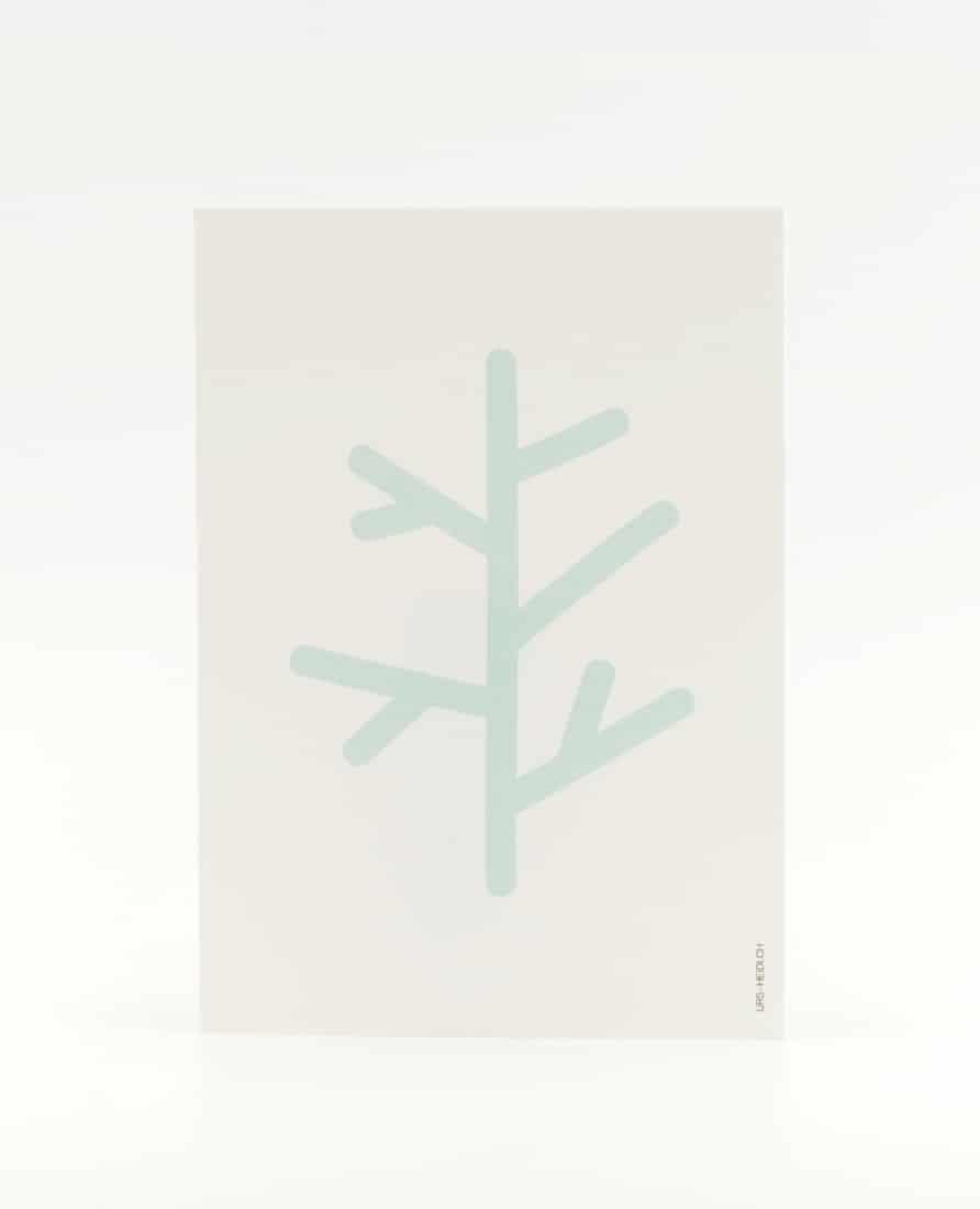 Postkarte Ast Eisgrün