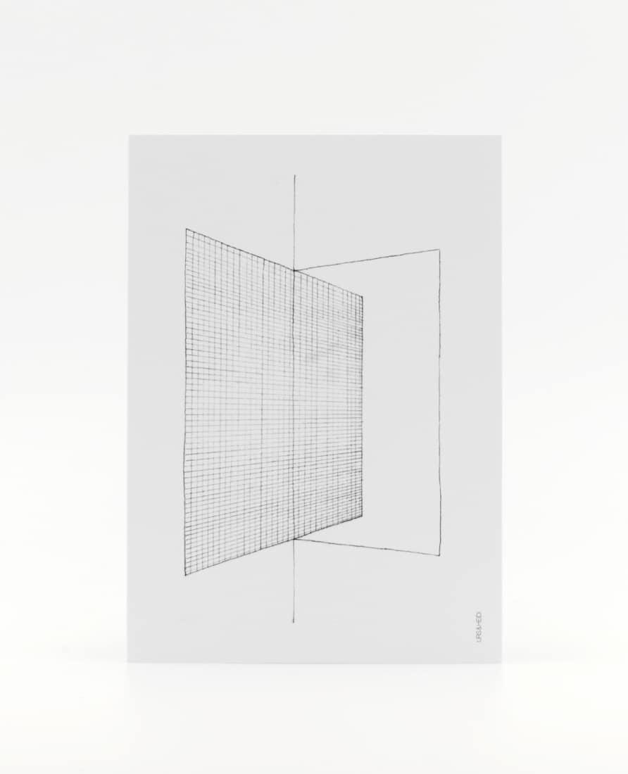 Postkarte mit Bleistift gezeichnet geometrisch gerastert
