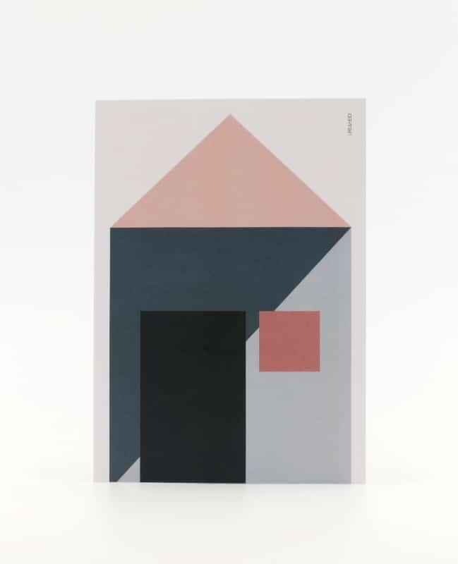 Postkarte mit Haus geometrisch illustriert im Pastellton