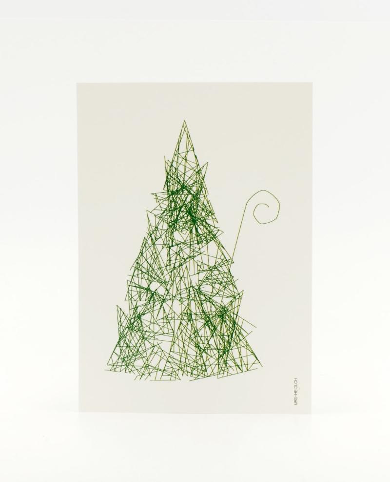 Herr S. Claus Postkarte in grün - Inkognito im Walde zu Weihnachten