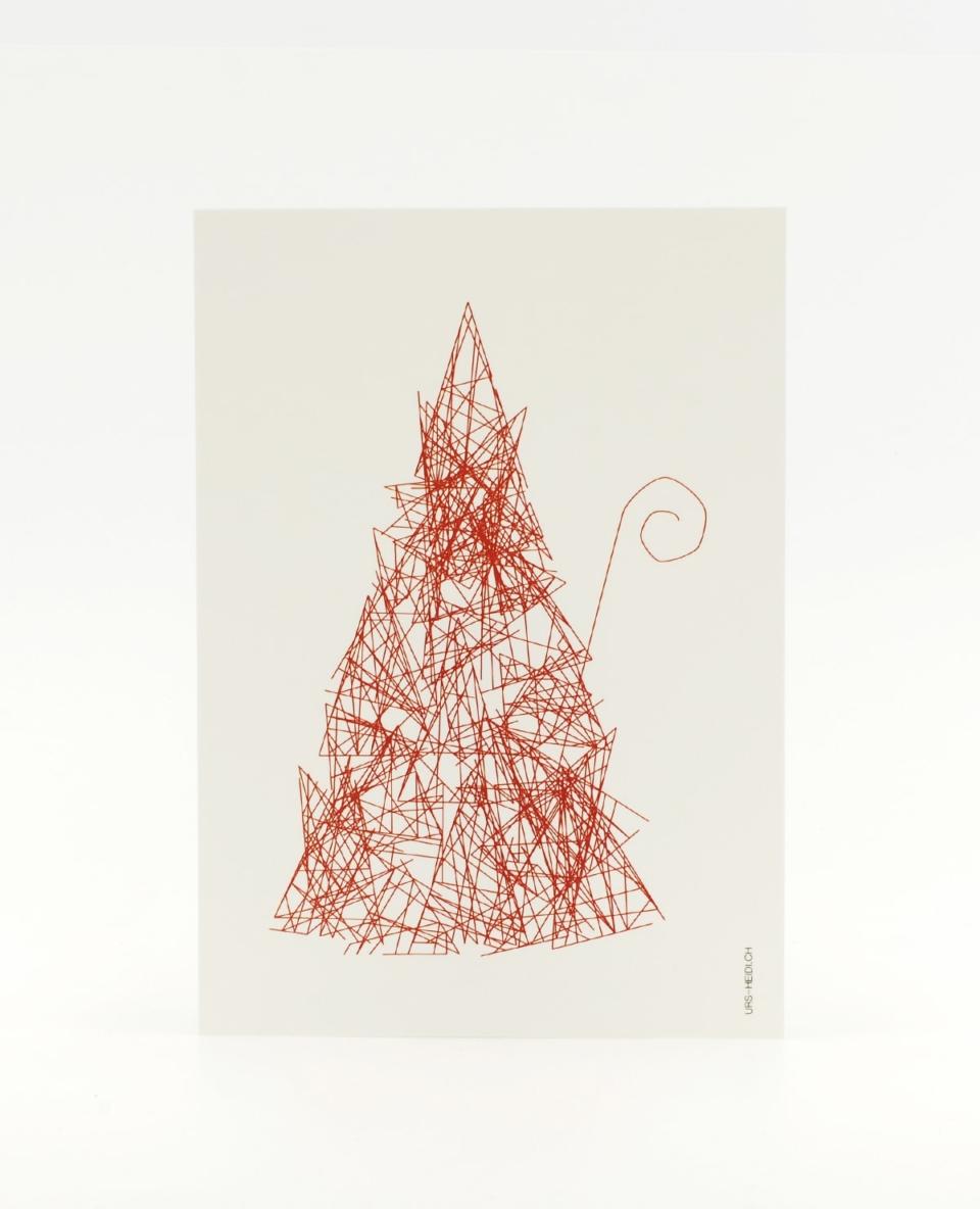Herr S. Claus Postkarte in rot - Inkognito im Walde zu Weihnachten