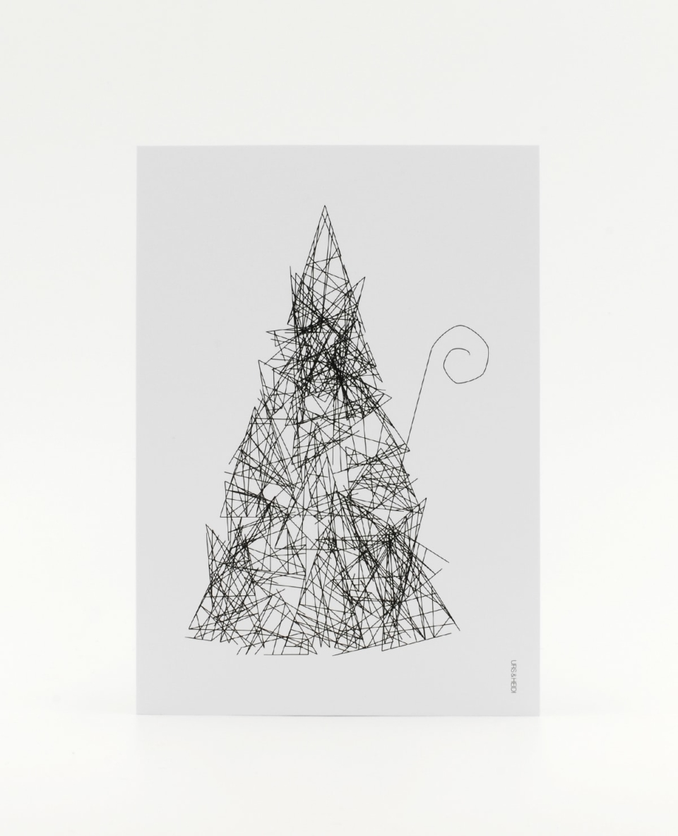 Herr S. Claus Postkarte in schwarz - Inkognito im Walde zu Weihnachten