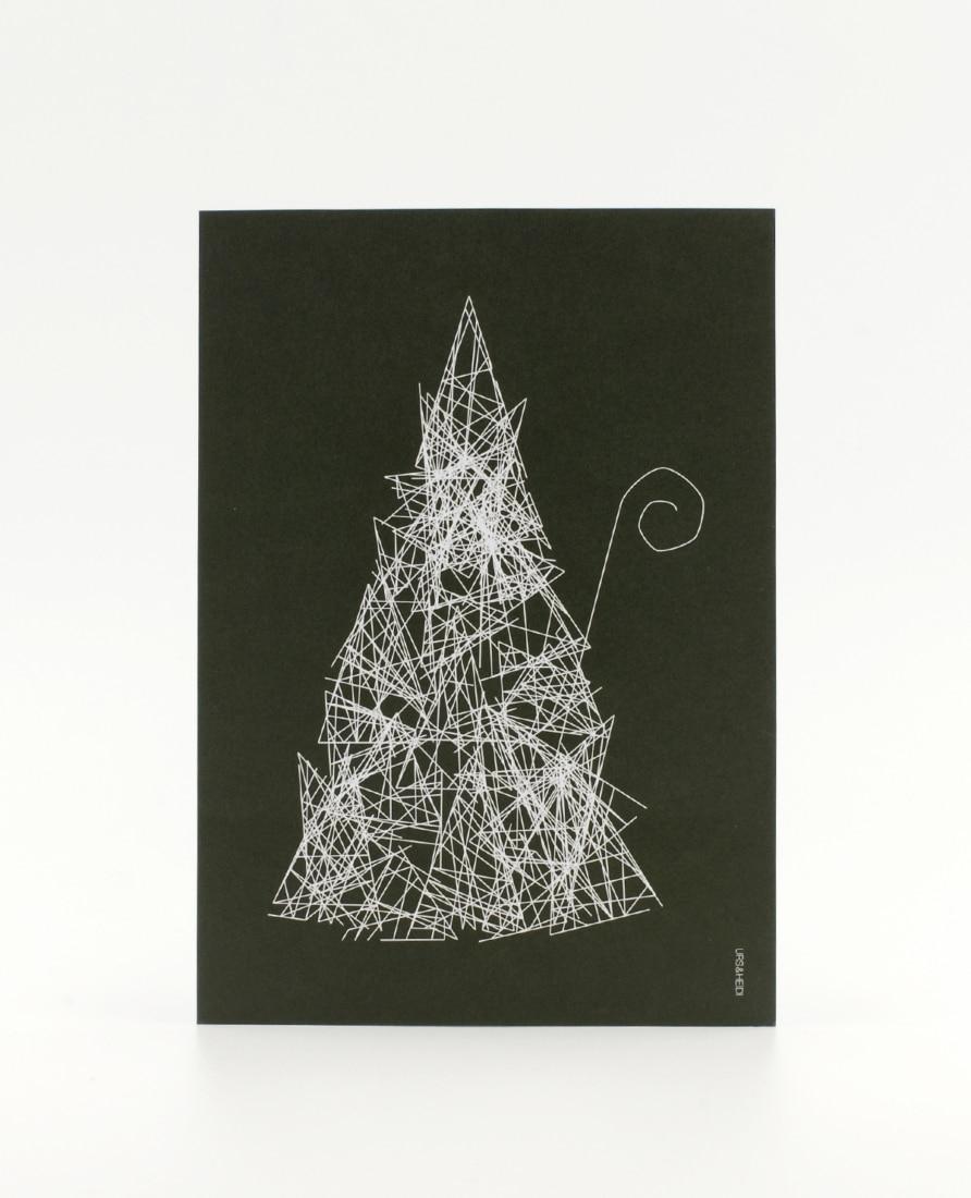 Postkarten mit Weihnachtsmann als abstrakte Skizze auf dunkelgrüner Fläche