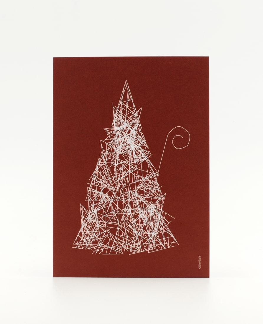 Postkarten mit Weihnachtsmann als abstrakte Skizze auf roter Fläche