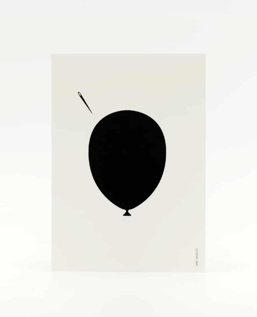 Postkarte schwarz-weiss illustriert mit Luftballon und Nadel