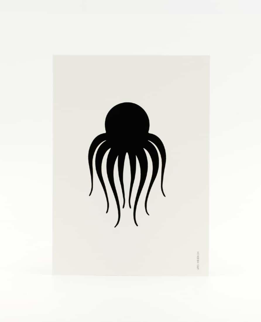 Postkarte schwarz-weiss illustriert mit Kraken Oktopus