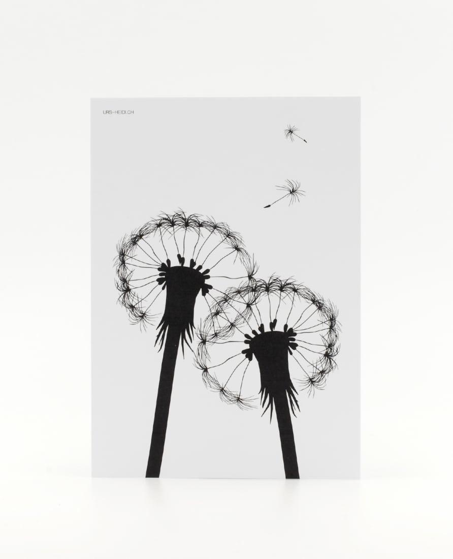 Postkarte grafisch in schwarz-weiss mit illustrierter Pusteblume