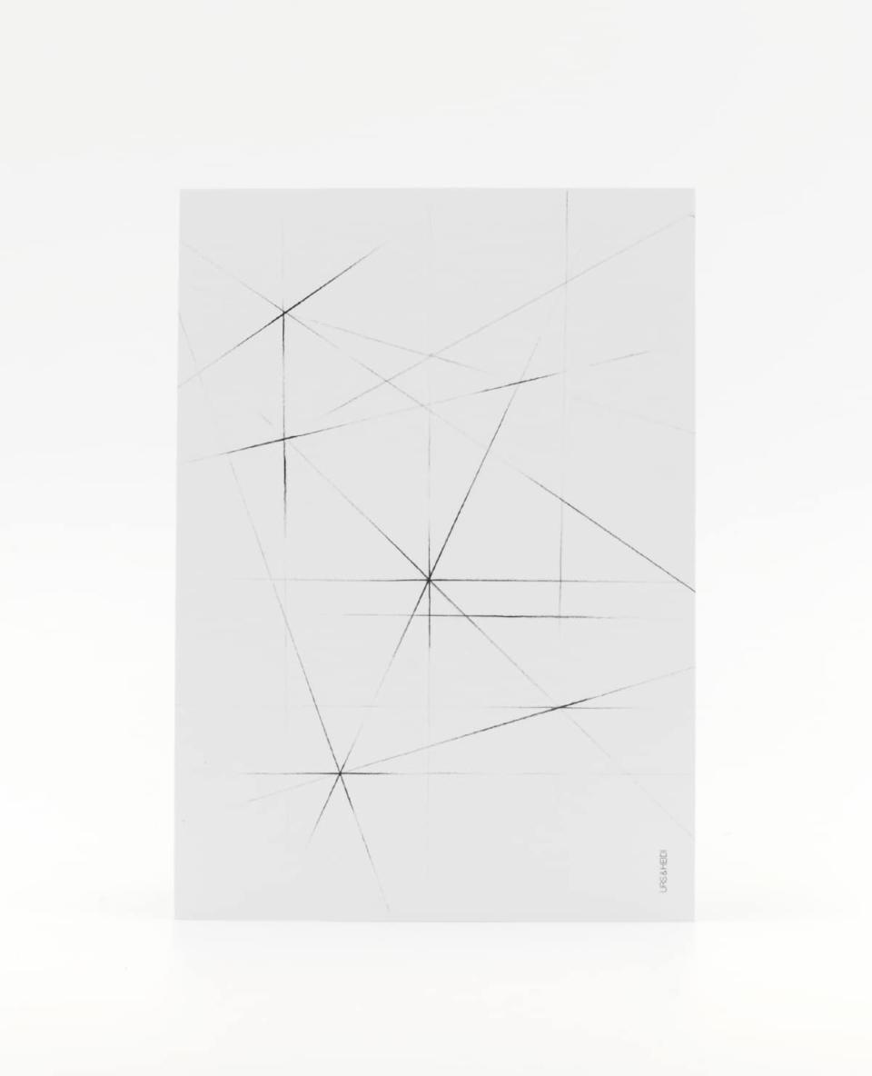 Postkarte mit Bleistift gezeichnet mit Kreisen kariert gerastert überlagert