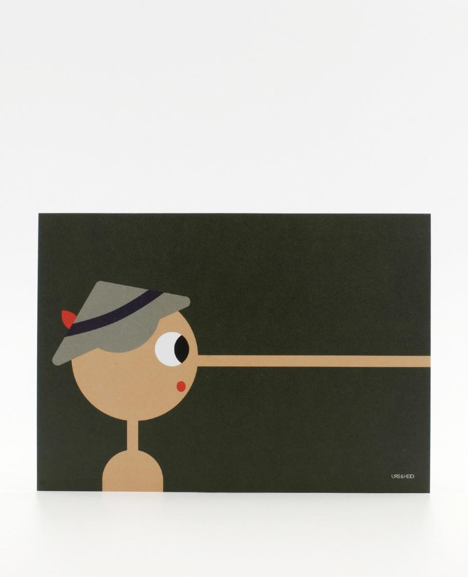 Postkarte illustriert mit Pinocchio Figur in dunkelgrün