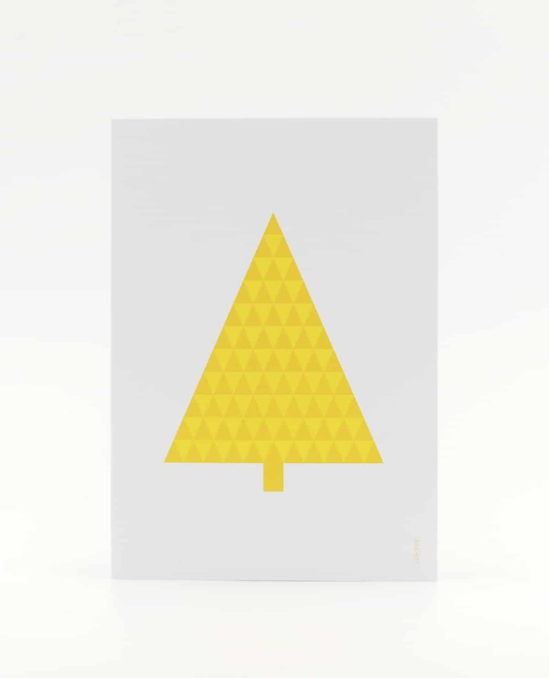 Tannenbaum Postkarte, illustriert aus gelben Dreiecken