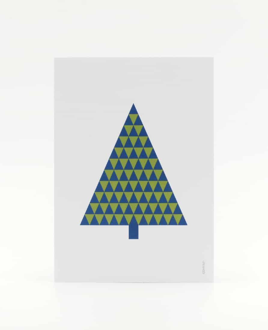 Tannenbaum Postkarte, illustriert aus grünen und hellgrünen Dreiecken