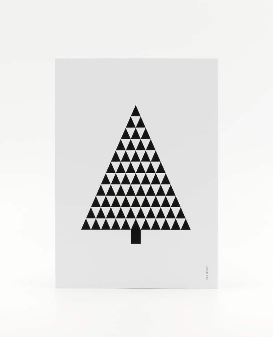 Tannenbaum Postkarte, illustriert aus schwarzen Dreiecken