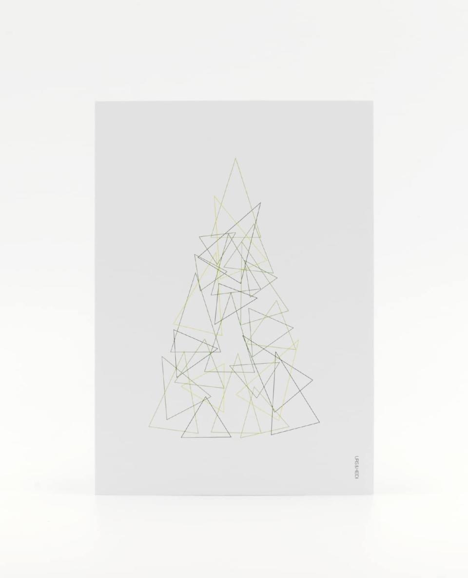 Um drei grüne Ecken Postkarte - Der abstrakte Weihnachtsbaum