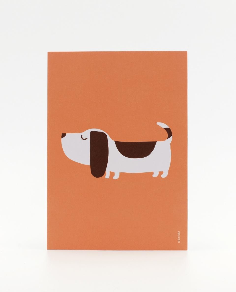 Lustige Postkarte mit Dackel Hund illustriert orange braun farbig