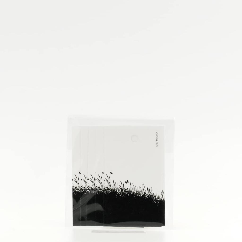 Anhänger für Geschenke, Illustration Silhouette Blumenwiese in schwarz 6 Stück