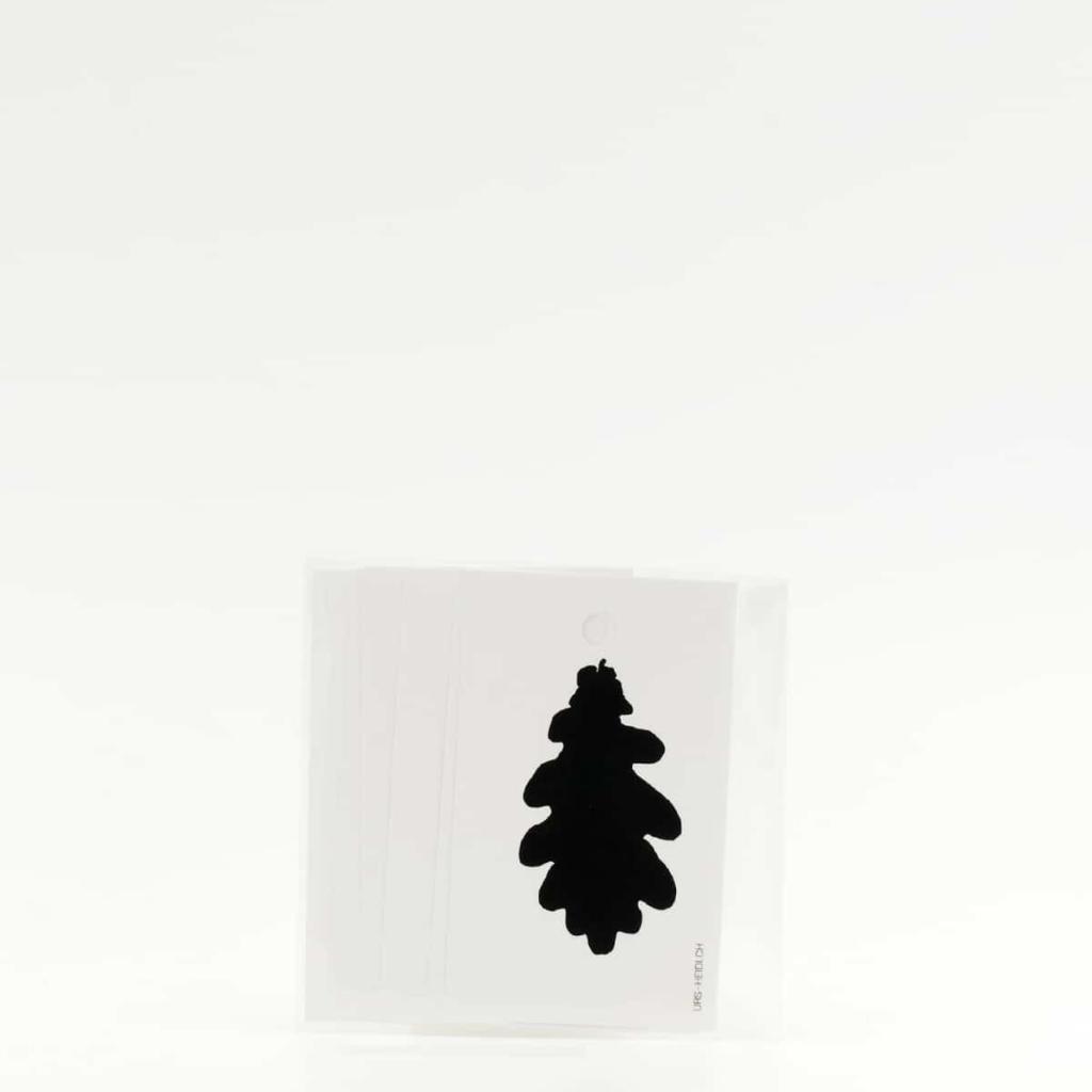 Anhänger für Geschenke, Illustration Silhouette Eichenblatt in schwarz 6 Stück