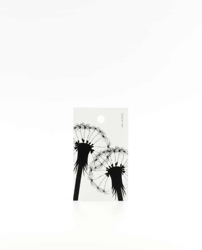 Anhänger für Geschenke, Illustration Silhouette Pusteblumen in schwarz