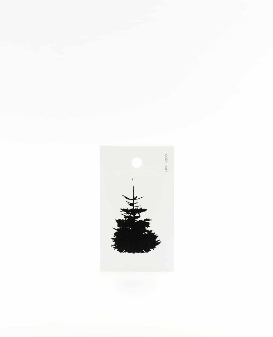 Tanne Anhänger für Geschenke, Illustration Silhouette in schwarz