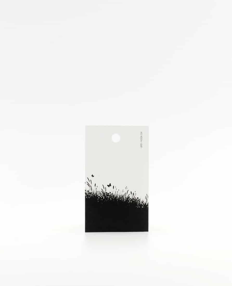 Anhänger für Geschenke, Illustration Silhouette Blumenwiese in schwarz