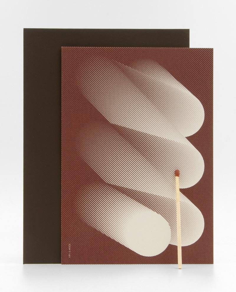 Siebdruck Karte mit Zündholz und Kuvert