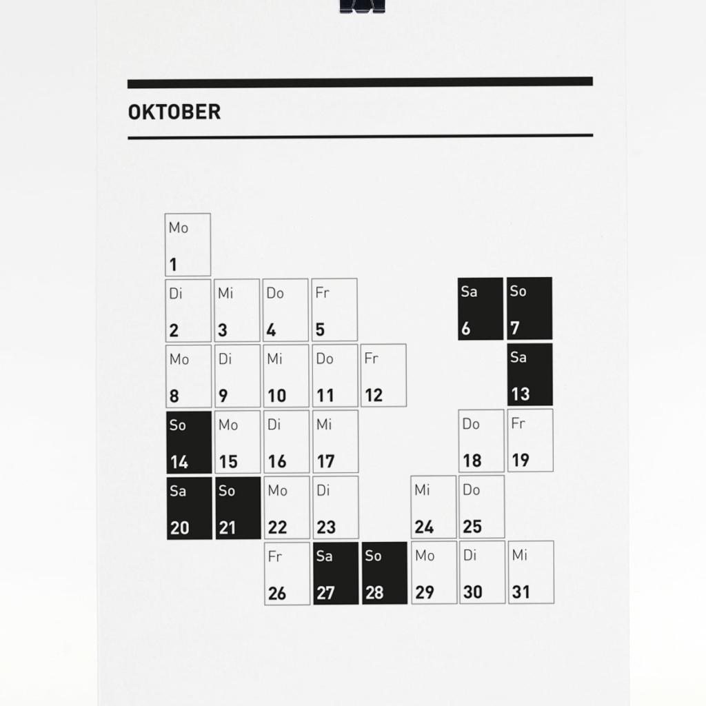 365 Kalender 2018 - Oktober